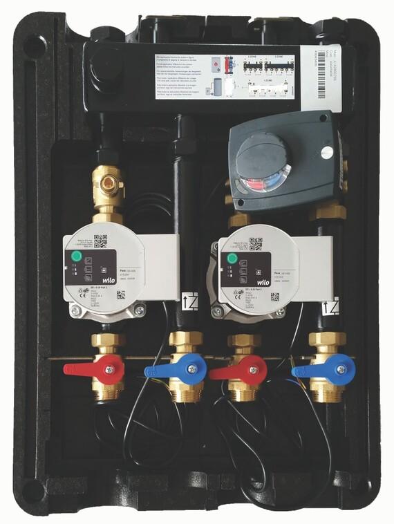 Hydraulische module T-box voor 1 kring vloerverwarming en 1 kring radiatoren.