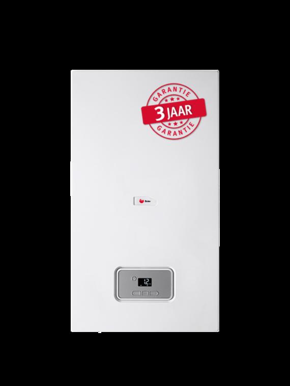 De condensatiegaswandketel ThermoMaster staat in voor de productie van verwarming maar kan gecombineerd met een boiler ook instaan voor warm water.