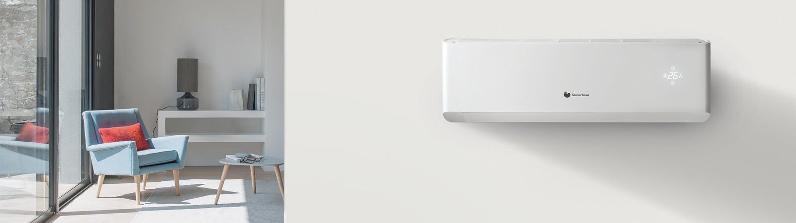 Binneneenheid van de VivAir lucht/lucht warmtepomp in living.